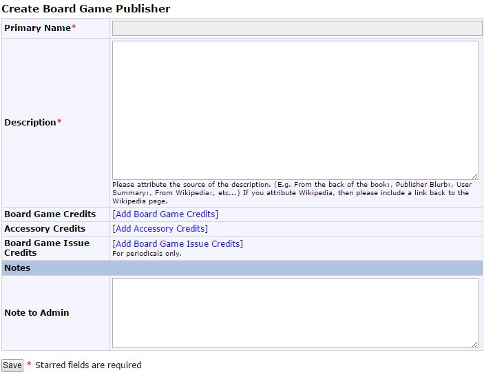 Create Board Game Publisher on Board Game Geek